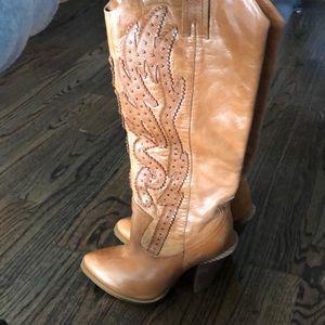 Tall stud cowboy boot